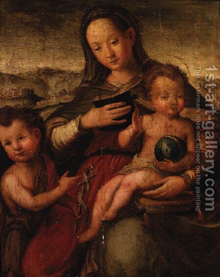 The Madonna and Child with the Infant Saint John the Baptist by (after) Ventura Salimbeni - Reproduction Oil Painting