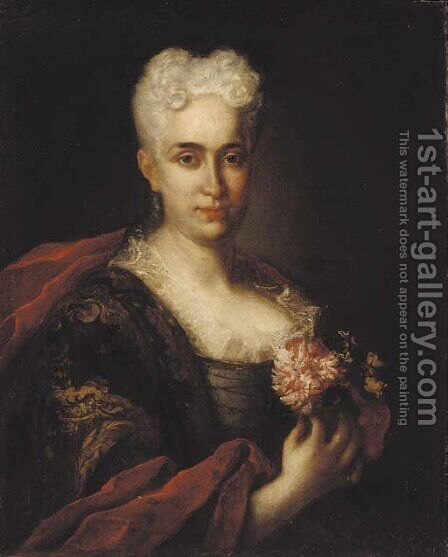 Portrait of a lady with gold brocade and a crimson wrap, holding a carnation by (after) Vittore Ghislandi - Reproduction Oil Painting