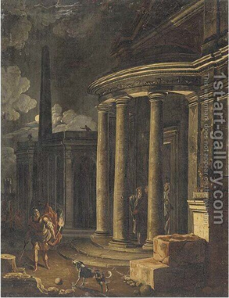 A capriccio of classical buildings by moonlight by (after) Viviano Codazzi - Reproduction Oil Painting