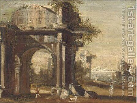 A capriccio of classical ruins by a shore, with figures in the foreground by (after) Viviano Codazzi - Reproduction Oil Painting