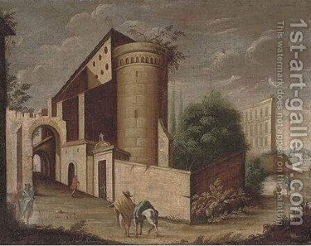 An architectural capriccio with a traveller and his horse by (after) Viviano Codazzi - Reproduction Oil Painting