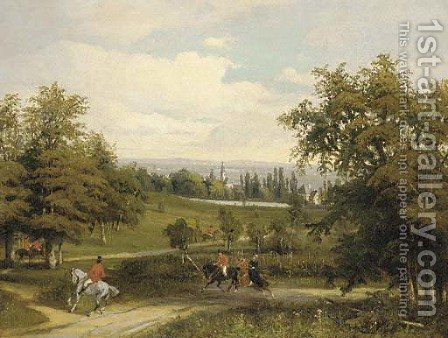 A hunting party on a wooded track with an extensive landscape beyond by (after) Wilhelm August Rieder - Reproduction Oil Painting