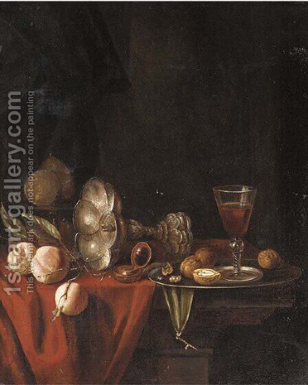 A silver goblet by (after) Willem Claesz. Heda - Reproduction Oil Painting