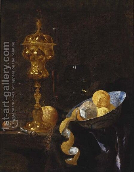 A peeled lemon and oranges in a wanli kraak bowl by (after) Willem Kalf - Reproduction Oil Painting