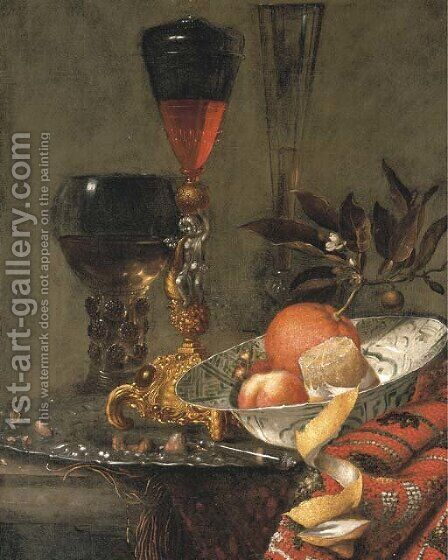Orange with blossom by (after) Willem Kalf - Reproduction Oil Painting