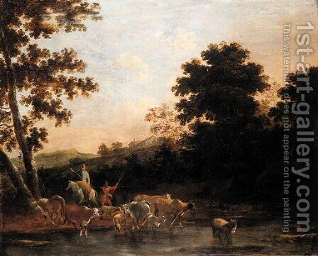 Cowherds watering cattle in an Italianate landscape by (after) Willem Romeyn - Reproduction Oil Painting
