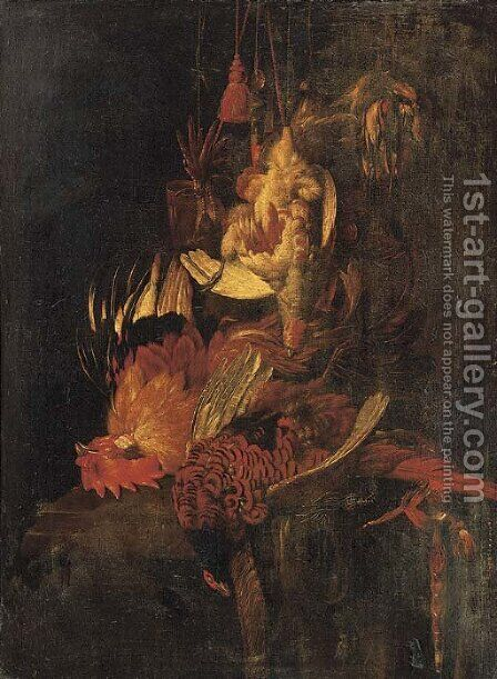 A dead cockerel and game birds suspended by (after) Willem Van Aelst - Reproduction Oil Painting
