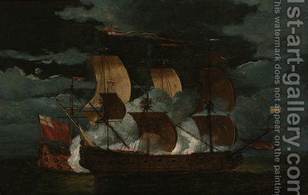 A naval engagement between a Dutch and British man'o-war by (after) Willem Van De Velde - Reproduction Oil Painting