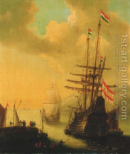 A Dutch man-o'-war departing a harbour by (after) Willem Van De, The Younger Velde - Reproduction Oil Painting