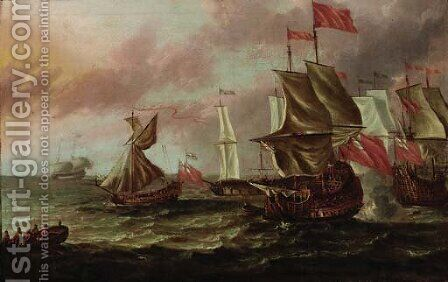 British men-o'-war in choppy waters by (after) Willem Van De, The Younger Velde - Reproduction Oil Painting