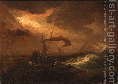 Shipping in a storm by (after) Willem Van De, The Younger Velde - Reproduction Oil Painting