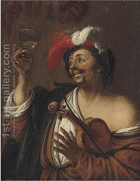 A drinker by (after) Willem Van Mieris - Reproduction Oil Painting