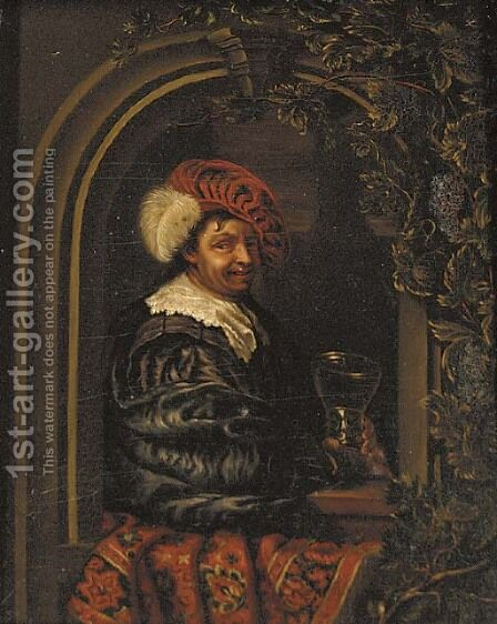 A drinker holding a roemer at a stone niche by (after) Willem Van Mieris - Reproduction Oil Painting