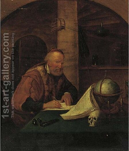 A man playing a violin at a window; and a philosopher in his study by (after) Willem Van Mieris - Reproduction Oil Painting