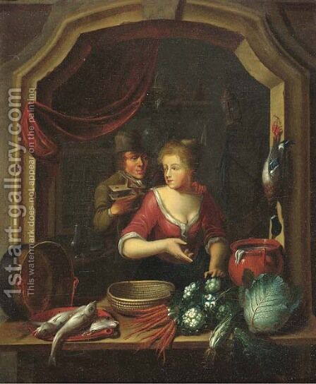 A woman cleaning vegetables and fish by a window, a man holding a birdcage nearby by (after) Willem Van Mieris - Reproduction Oil Painting