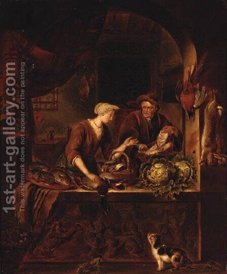 Preparing A Feast by (after) Of Willem Van Mieris - Reproduction Oil Painting