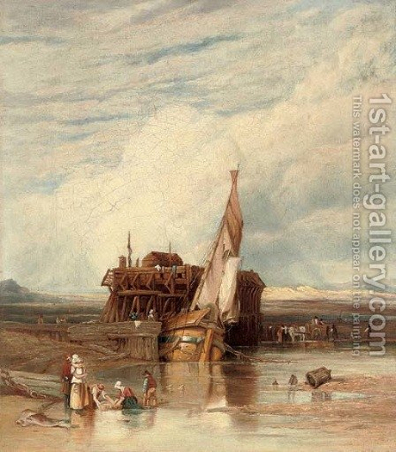 A boat moored with figures in the foreground, Fort Rouge, Calais by (after) William Clarkson Stanfield - Reproduction Oil Painting