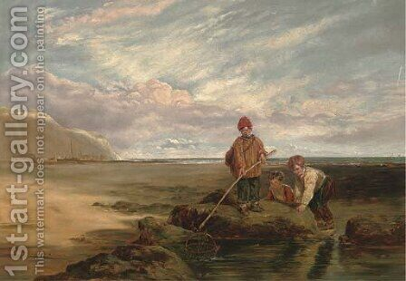 Children at a rock pool by (after) William Collins - Reproduction Oil Painting