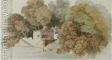 An Indian residence with figures washing in the river below by (after) William Daniell - Reproduction Oil Painting