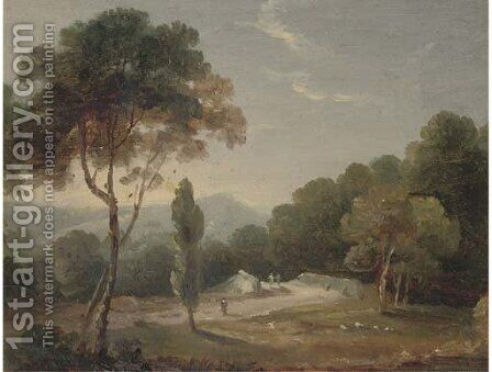 An Italianate landscape; and A castle by a lake by (after) William Daniell - Reproduction Oil Painting