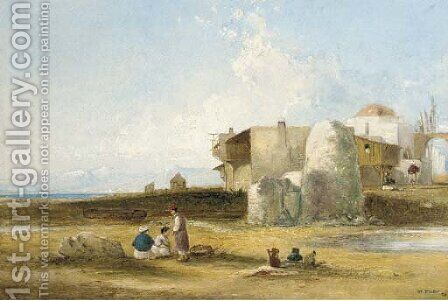 Figures before a Middle Eastern village in a mountainous lake landscape by (after) William James Muller - Reproduction Oil Painting