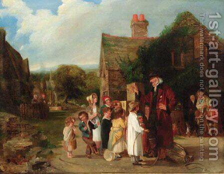 The village peep show by (after) William Mulready - Reproduction Oil Painting