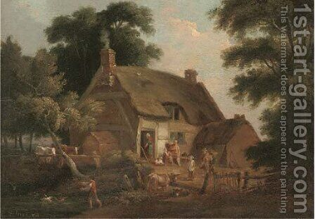 Countrymen and animals before a thatched cottage by (after) William Joseph Shayer - Reproduction Oil Painting