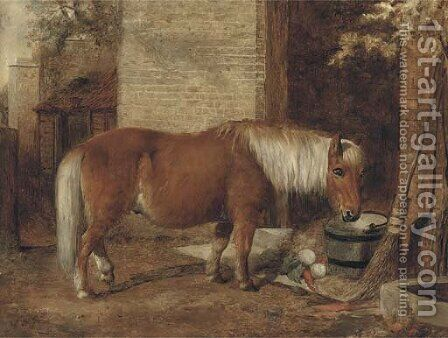 A pony in a stable yard by (after) William Snr Shayer - Reproduction Oil Painting
