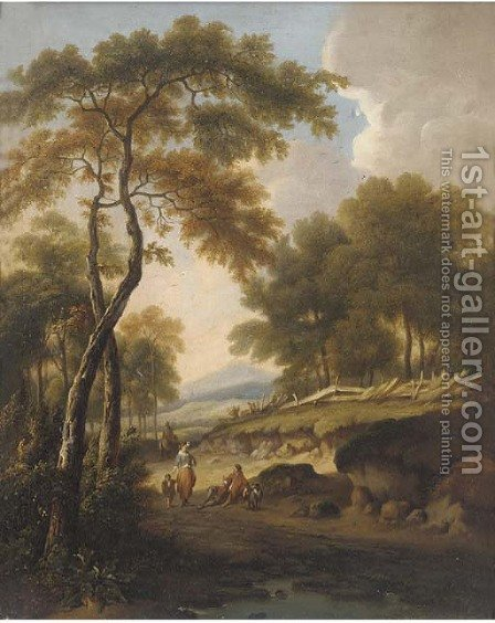 Figures on a path in a wooded landscape by (after) William Traies - Reproduction Oil Painting