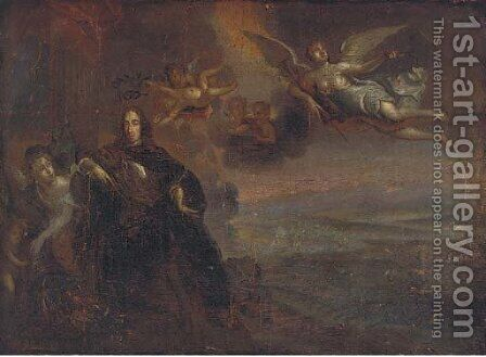William of Orange landed by angels, a battlefield beyond by (after) William Wissing Or Wissmig - Reproduction Oil Painting