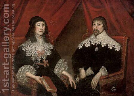 Double portrait of a husband and wife by (after) Wolfgang Heimbach - Reproduction Oil Painting