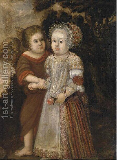 Portrait of a child accompanied by an Angel by (after) Wybrand Simonsz. De Geest - Reproduction Oil Painting