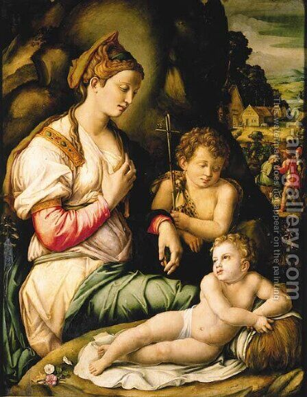 The Madonna and Child with Saint John the Baptist seated among rocks, a village beyond with shepherds by (circle of) Ubertini, (Bacchiacca) - Reproduction Oil Painting