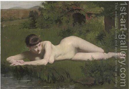 Reclining nude on the riverbank by Frank Duveneck - Reproduction Oil Painting