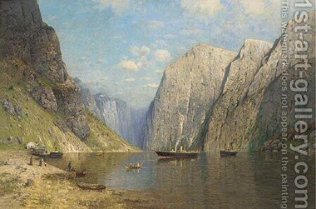 A Norwegian fjord by Greben - Reproduction Oil Painting