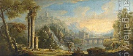 An Italianate river landscape with ruins and herdsmen on a path by Caspar Andriaans Van Wittel - Reproduction Oil Painting