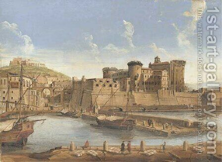 La Darsena delle galere View of Naples from the harbour, with a view of the Castel Nuovo and Capodimonte beyond by Caspar Andriaans Van Wittel - Reproduction Oil Painting