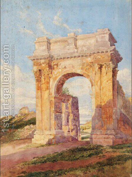 A triumphal arch in the Roman campagna by Arthur Glennie - Reproduction Oil Painting