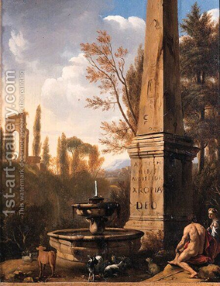 Shepherds resting by a fountain and an obelisk in an Arcadian landscape by Jan Gerritsz van Bronchorst - Reproduction Oil Painting