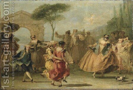 Dancing the Minuet by Giovanni Domenico Tiepolo - Reproduction Oil Painting