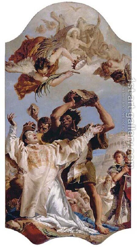 The Stoning of Saint Stephen by Giovanni Domenico Tiepolo - Reproduction Oil Painting