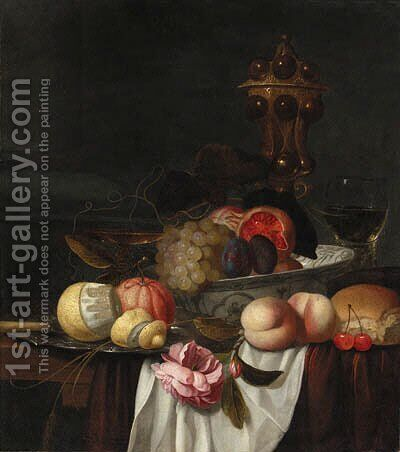 Grapes, pomegranates and plums in a Wanli 'kraak' porselein bowl, an orange and a partly peeled lemon on a pewter plate, peaches, cherries, bread by Jacob van Hulsdonck - Reproduction Oil Painting