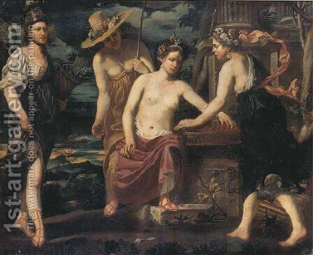 Vertumnus offering fruits to Pomona by Giovanni Francesco Guerrieri - Reproduction Oil Painting