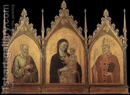 Madonna and Child with Sts Matthew and Nicholas 1328 by Bernardo Daddi - Reproduction Oil Painting