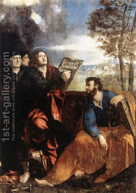 Sts John and Bartholomew with Donors 1527 by Dosso Dossi (Giovanni di Niccolo Luteri) - Reproduction Oil Painting