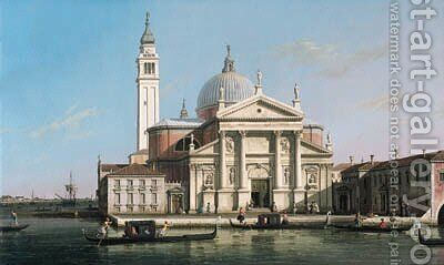 The Church of S. Giorgio Maggiore, Venice, with sandalos and gondolas 2 by (Giovanni Antonio Canal) Canaletto - Reproduction Oil Painting