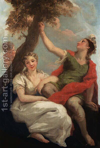 Angelica and Medoro by Giovanni Antonio Pellegrini - Reproduction Oil Painting