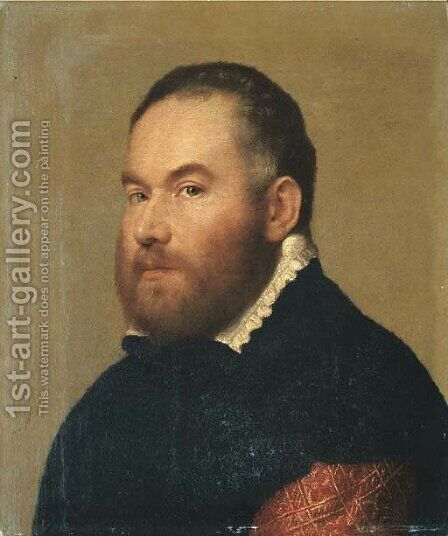 Portrait of a gentleman, bust-length in a brocaded red velvet doublet with a black cloak and a white collar by Giovanni Battista Moroni - Reproduction Oil Painting