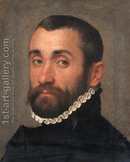 Portrait of a nobleman, bust-length, in black costume and a ruff by Giovanni Battista Moroni - Reproduction Oil Painting