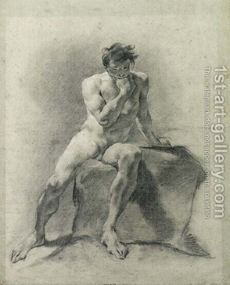 A seated male nude holding his chin in his right hand by Giovanni Battista Piazzetta - Reproduction Oil Painting